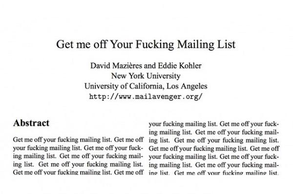 Get Me Off Fucking Mailing List