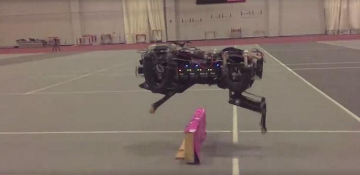 Robot Cheetah Jumps Over Hurdles