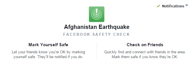 Google Person Finder and Facebook Safety Check Activated in