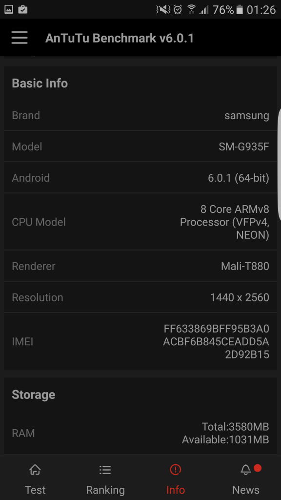Samsung Galaxy S7 Edge Benchmark