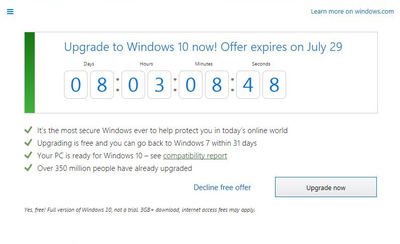 Microsoft sets a countdown for end of Windows 10 free upgrade