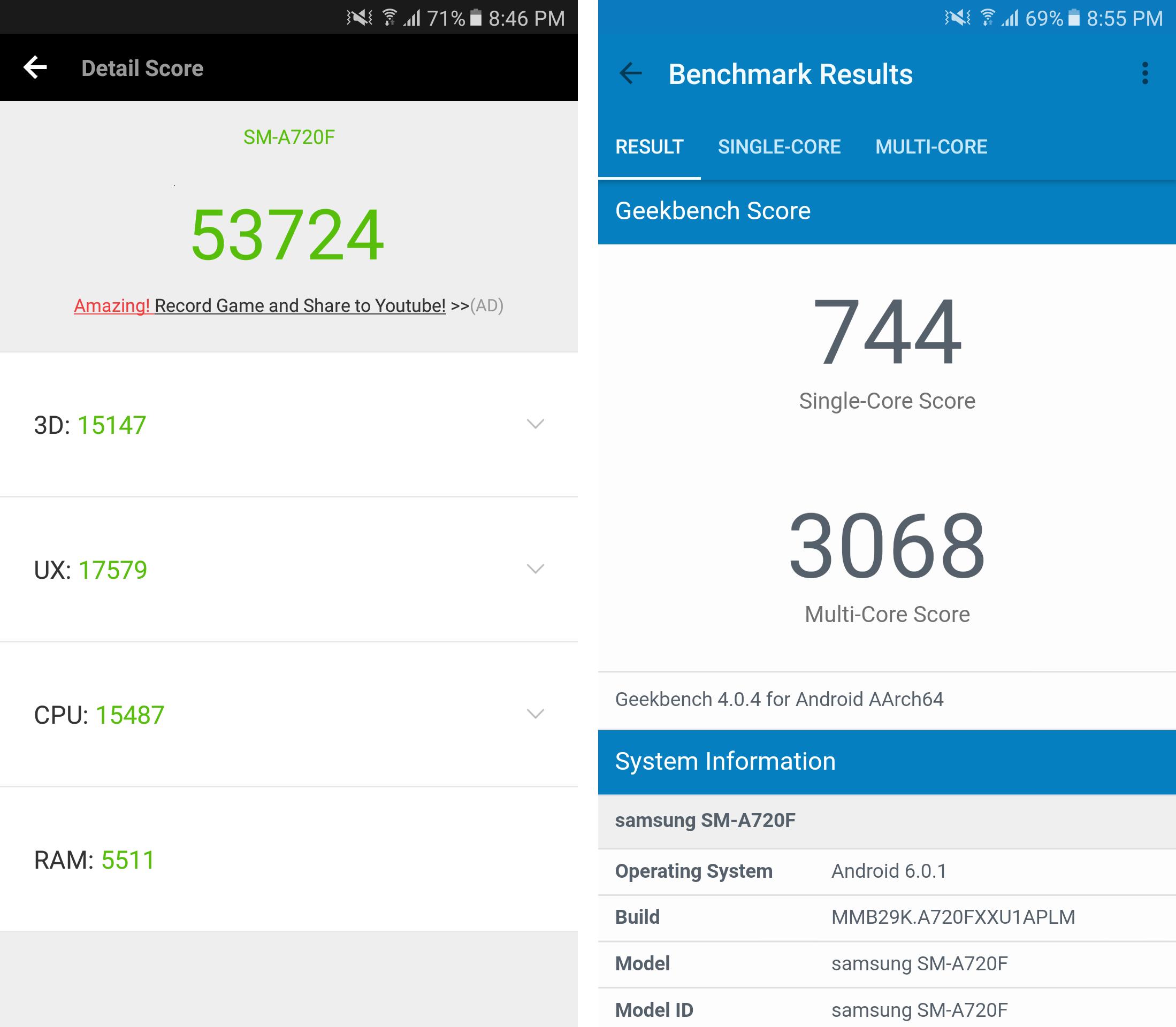 Samsung Galaxy A7 2017 review: Benchmark scores
