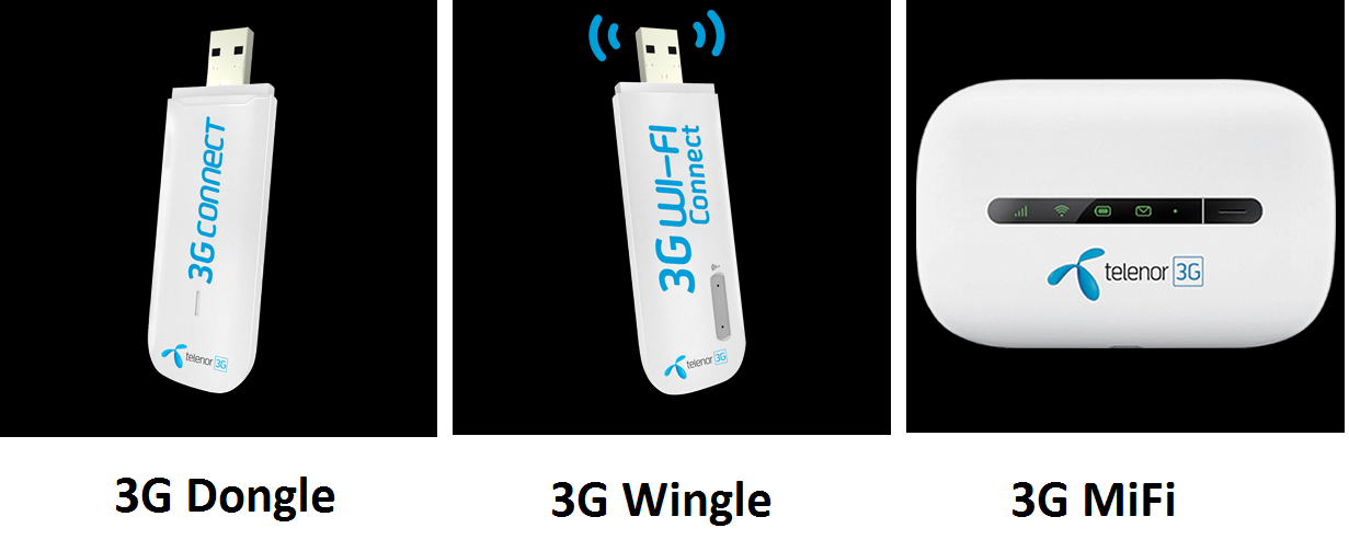 telenor device packages 3g dongle wingle mifi