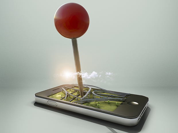 Overpass in a smartphone with pin locator