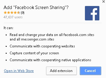 Facebook screen sharing extension