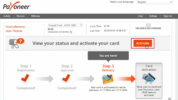how to activate payoneer card