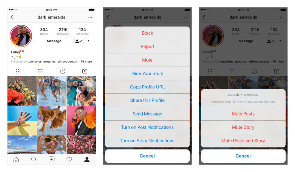 How to mute an Instagram account without unfollowing?