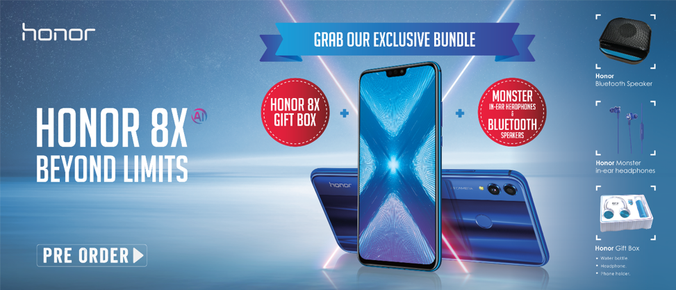 Honor 8x is available for pre-booking with free gift in Pakistan