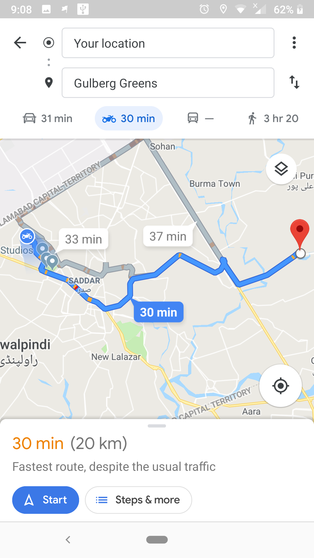 Google Maps now show directions for bike riders in Pakistan