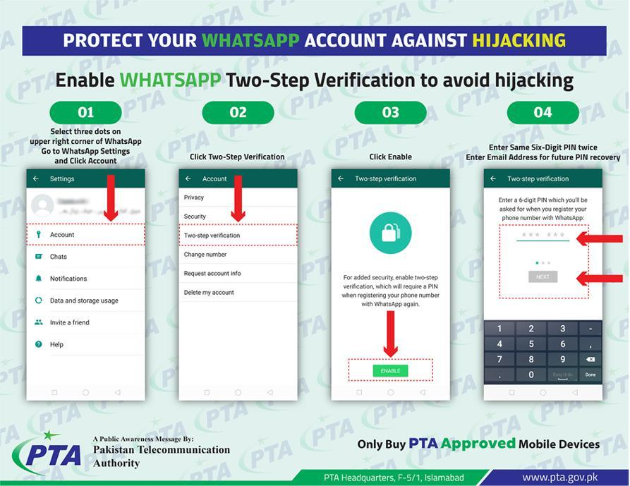 PTA urges WhatsApp users to enable two-step verification