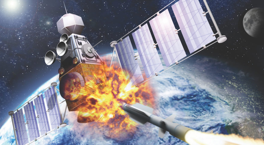 Artist's render of a satellite destroyed by missile in space- edobric/shutterstock